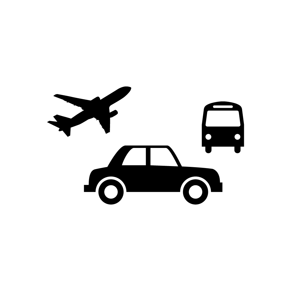 A bus, a plane, and a car.