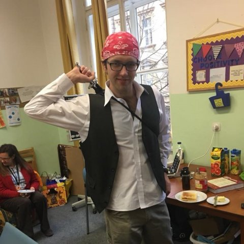 A student in a pirate costume.