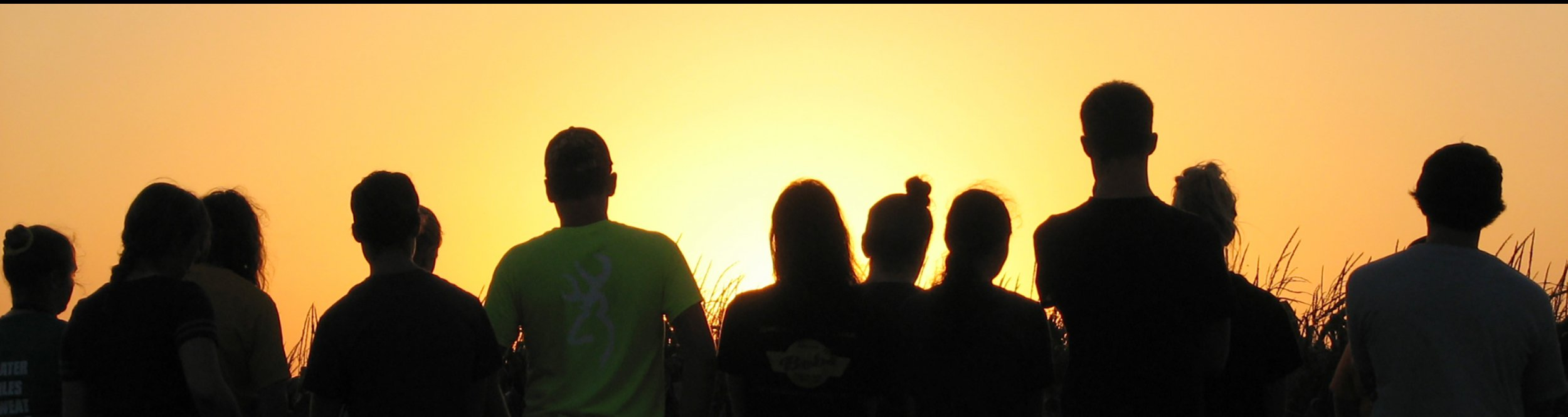 Silhouettes of people in the sunset.