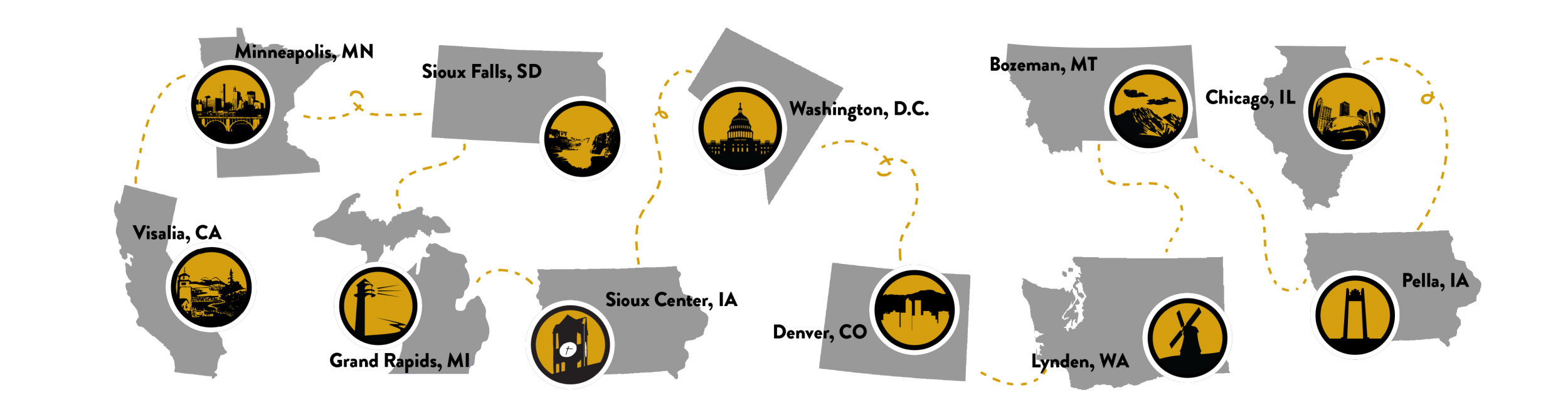 A design of different states with icons representing each one.