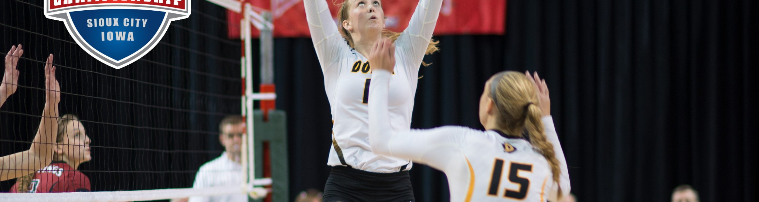 A female volleyball player sets the ball.