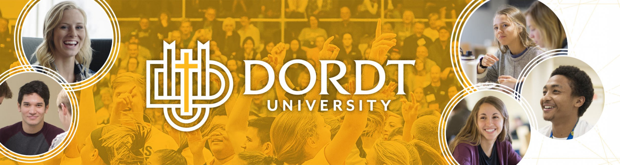 "The text ""Dordt University"" over students cheering."