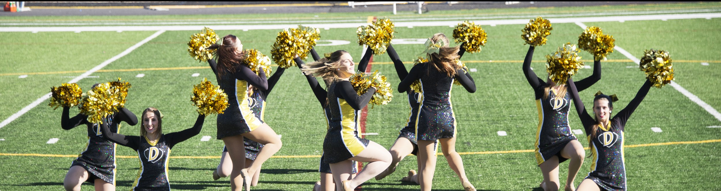 The women's dance team raises their pom poms on the field.