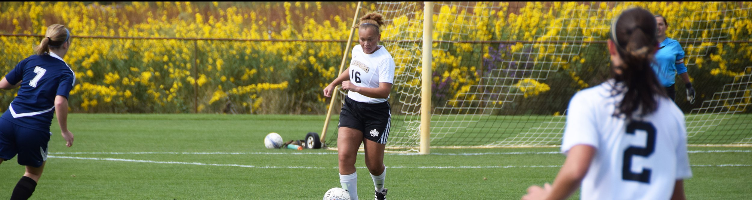 A female soccer player approaches the ball to kick it.