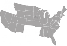 A grey map of the midwestern United States and some western and eastern states.