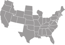 A grey map of the United States except some southwestern states and Montana.