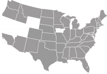 A grey map of the United States except some western states.
