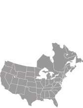 A grey map of the United States and eastern Canada.