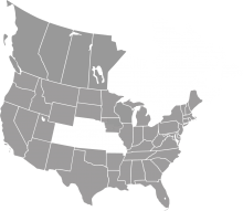 A grey map of the midwestern and western United States and western Canada.