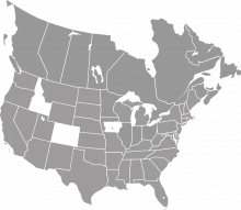 A map highlighting Idaho, Colorado, and much of Iowa
