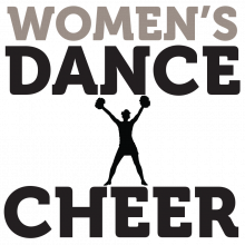 """A black silhouette of a dancer or cheerleader with text """"Women's Dance"""" and """"Cheer."""""""