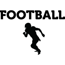 "A black silhouette of a football player underneath the text of ""Football."""