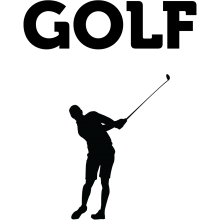 "A black silhouette of a golf player underneath the text ""Golf."""
