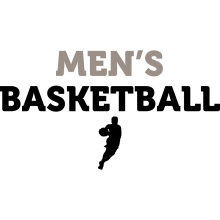 """A black silhouette of a male basketball player underneath the text """"Men's Basketball."""""""