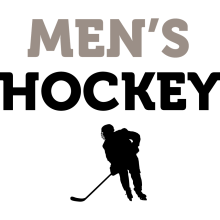 "A black silhouette of a hockey player underneath the text ""Men's Hockey."""