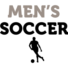 """A black silhouette of a male soccer player underneath the text """"Men's Soccer."""""""
