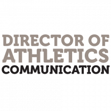"""Black and grey text that reads """"Director of Athletics Information."""""""