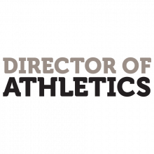 """Black and grey text that reads """"Director of Athletics."""""""