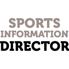 "Grey and black text that says ""Sports Information Director."""