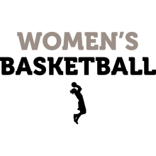 "A black silhouette of a female basketball player underneath the text ""Women's Basketball."""