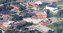 An arial view of brick buildings on campus.